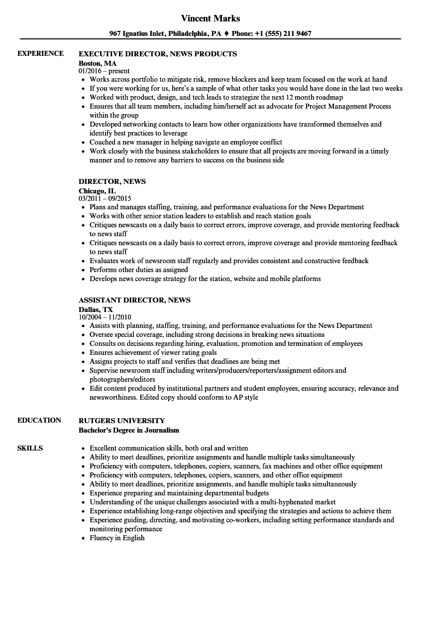 Director of news resume cheap book review editor website us