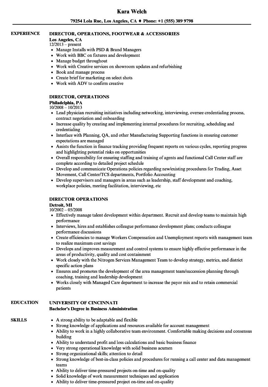 Velvet Jobs  Director Of Operations Resume