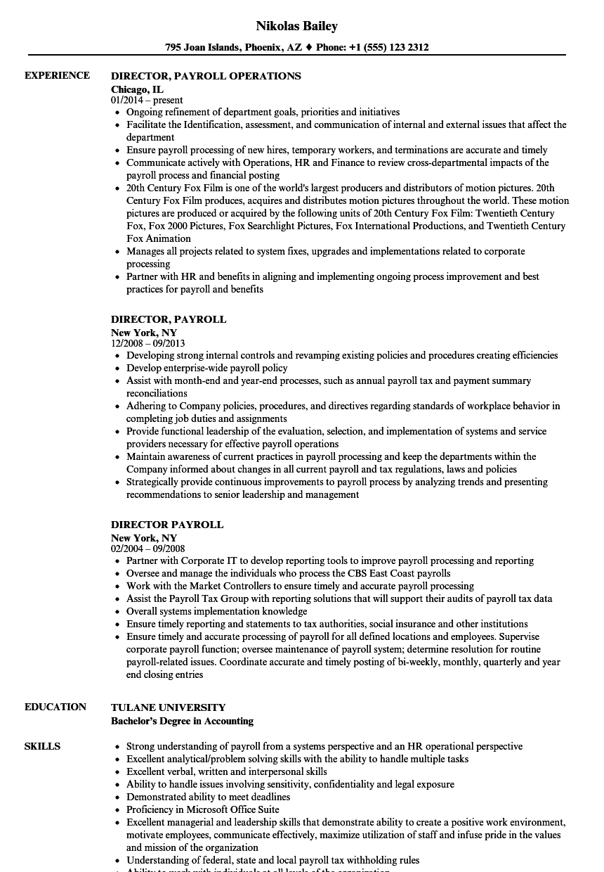 Director Payroll Resume Samples Velvet Jobs