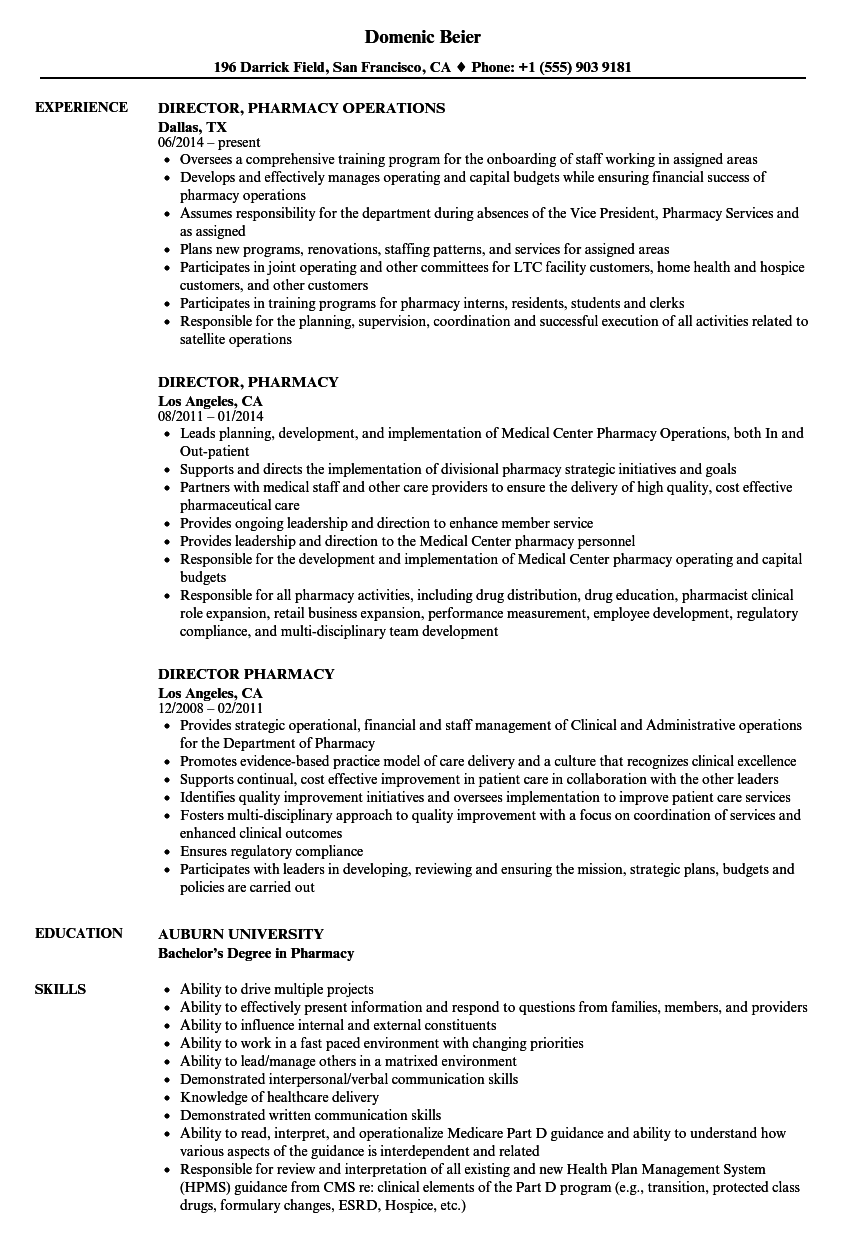director  pharmacy resume samples