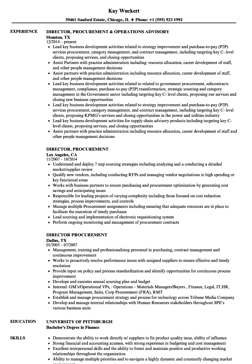 director  procurement resume samples