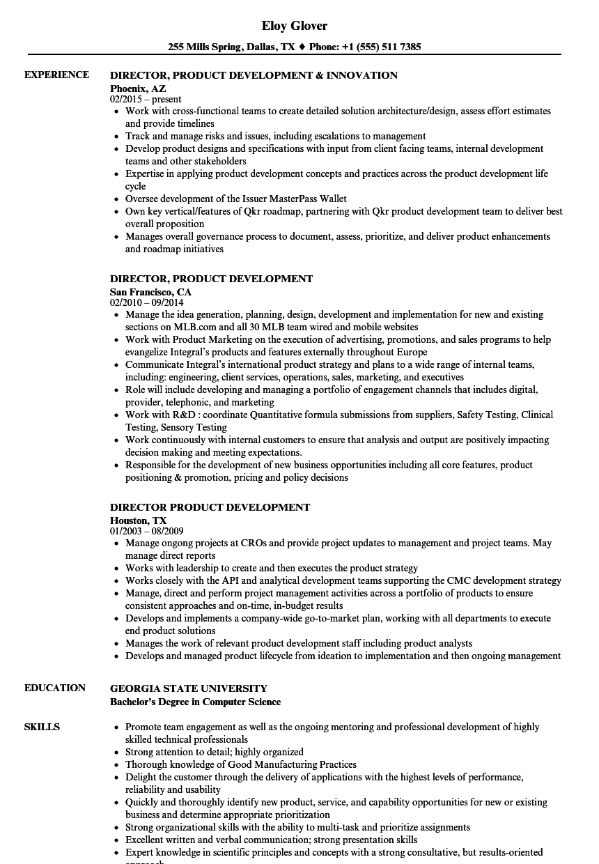 director  product development resume samples