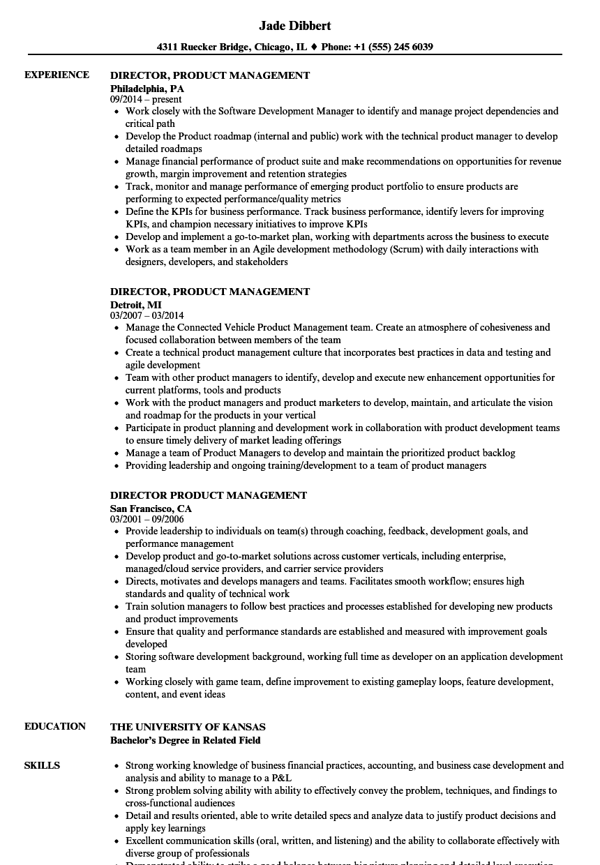 director  product management resume samples