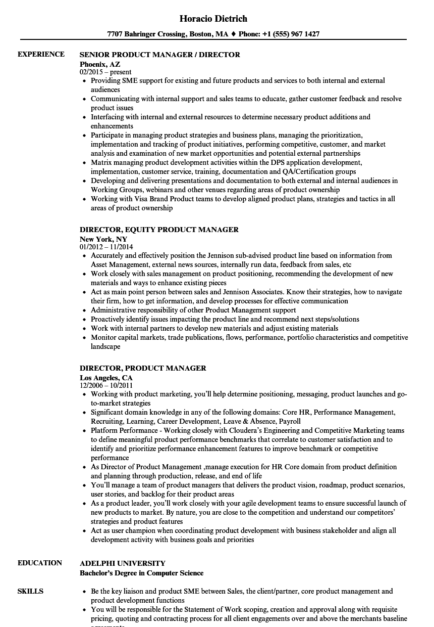 Director, Product Manager Resume Samples | Velvet Jobs