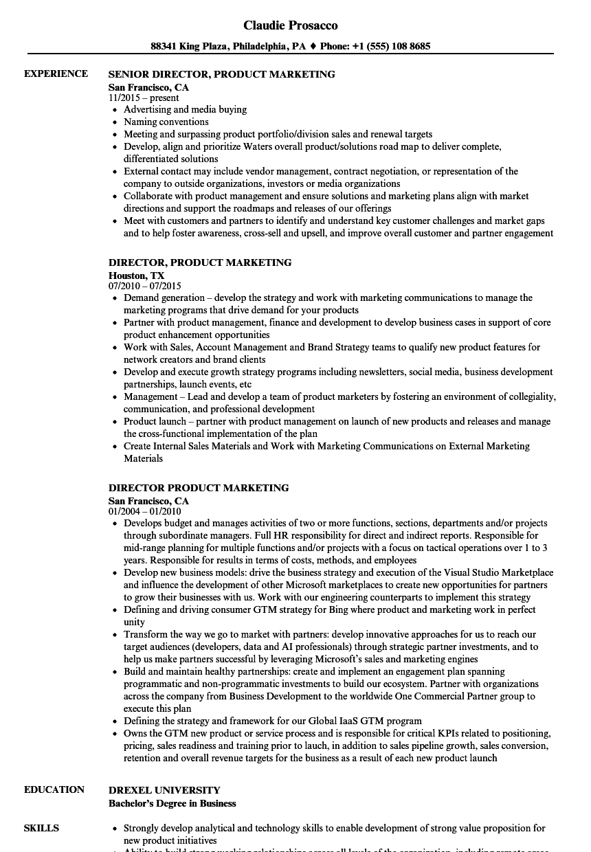 director product marketing resume samples velvet jobs