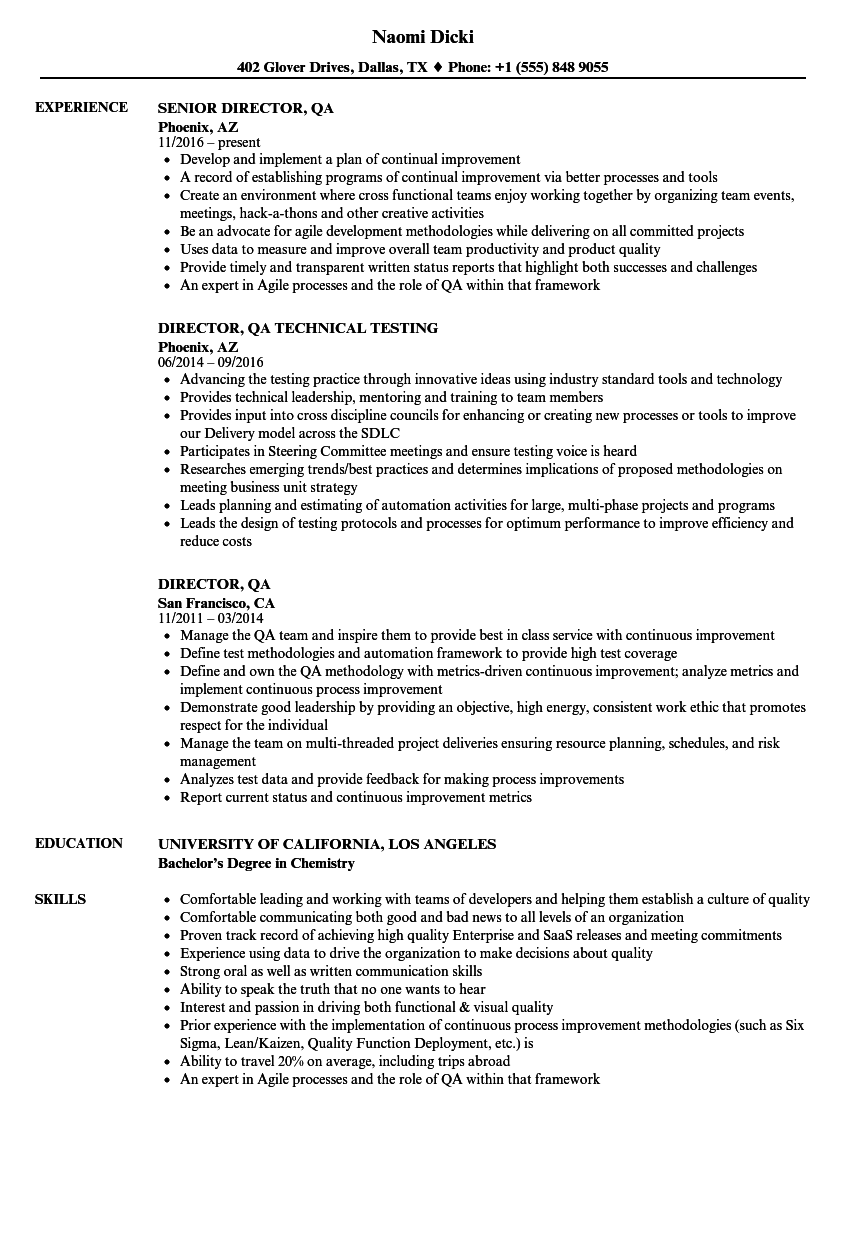 Director QA Resume Samples Velvet Jobs