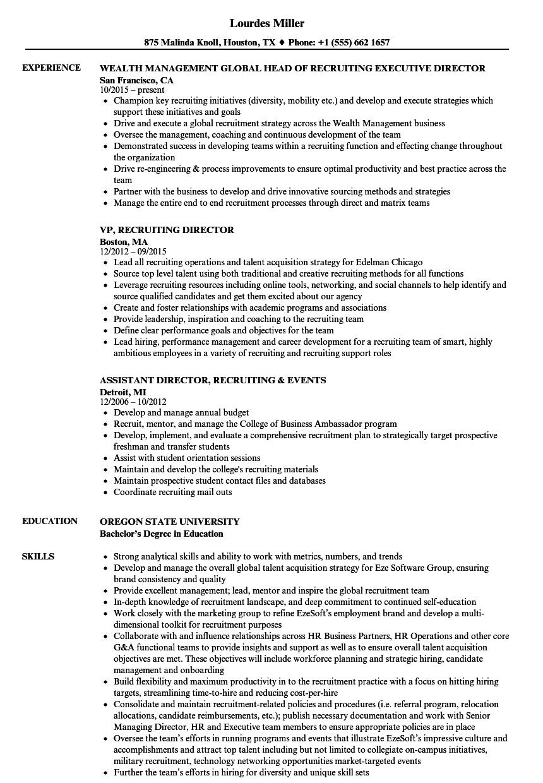 director recruiting resume samples