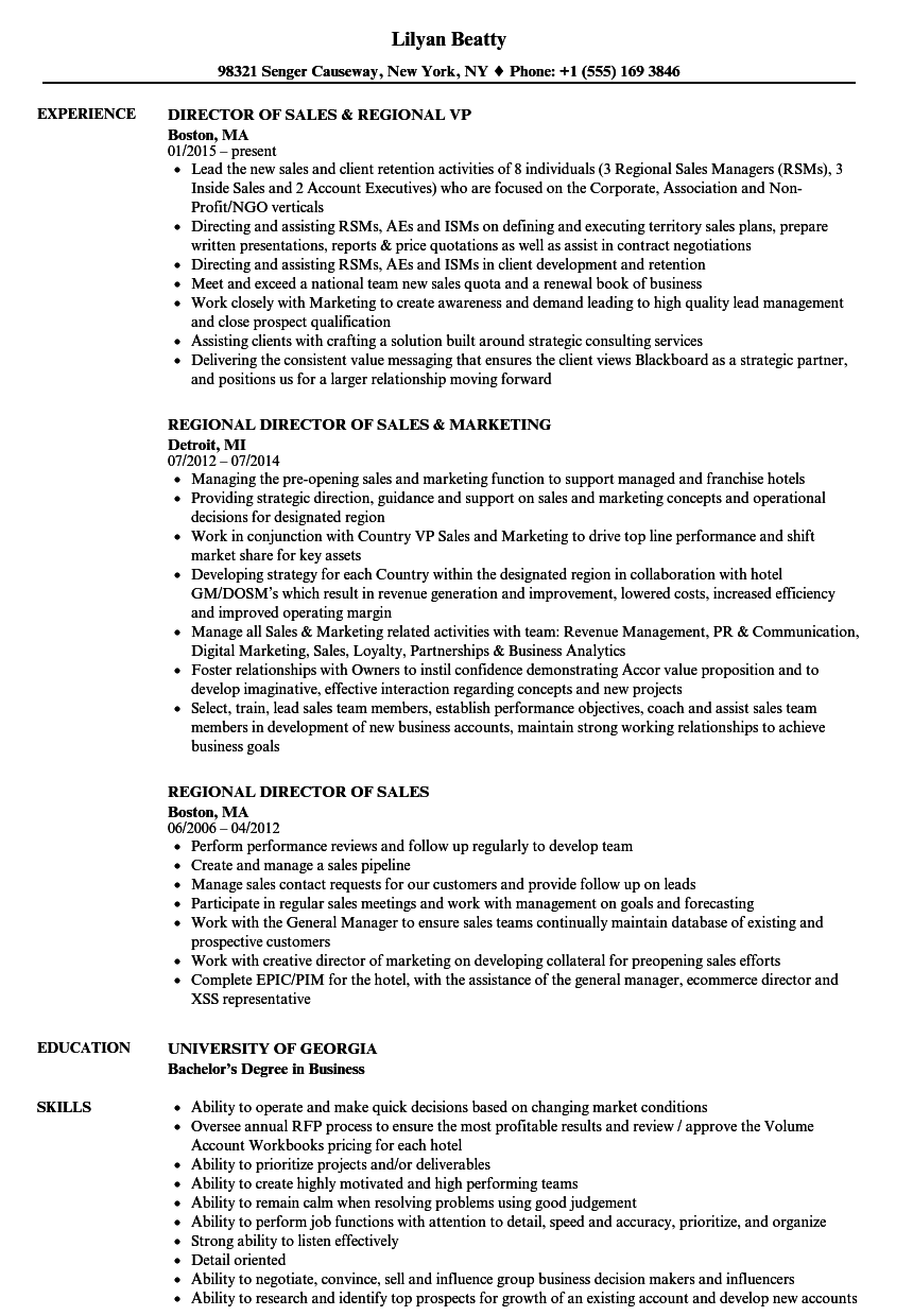download director regional sales resume sample as image file - Resume Exampkes