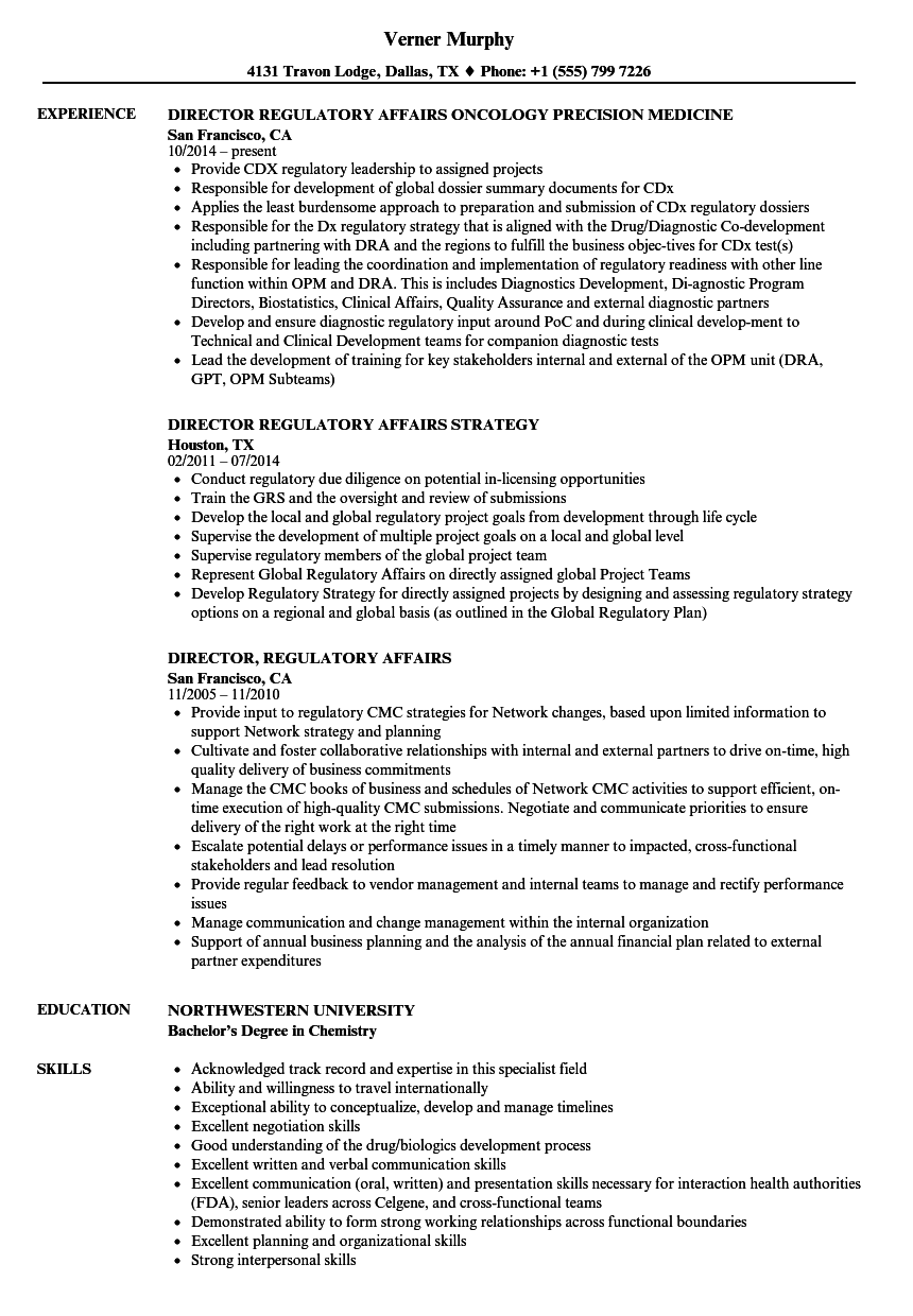 Director, Regulatory Affairs Resume Samples | Velvet Jobs