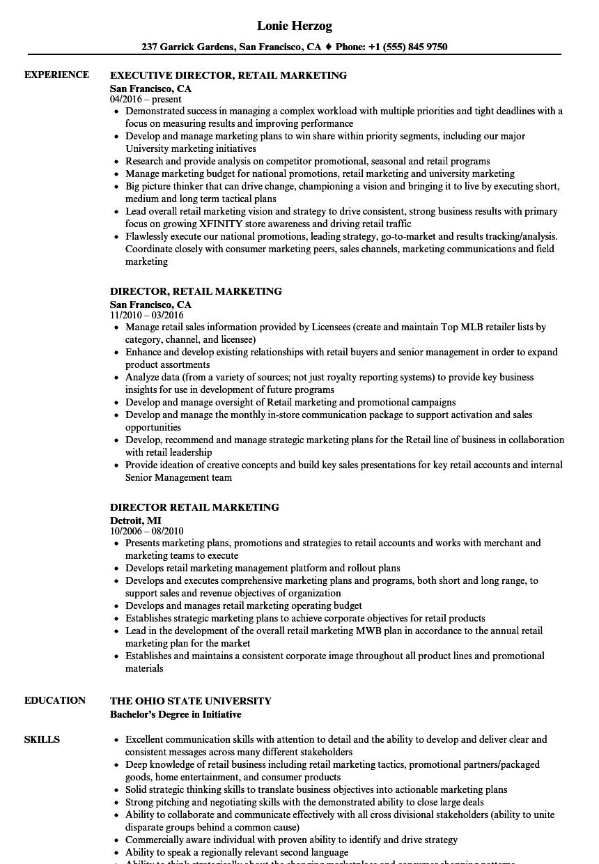 director retail marketing resume sles velvet