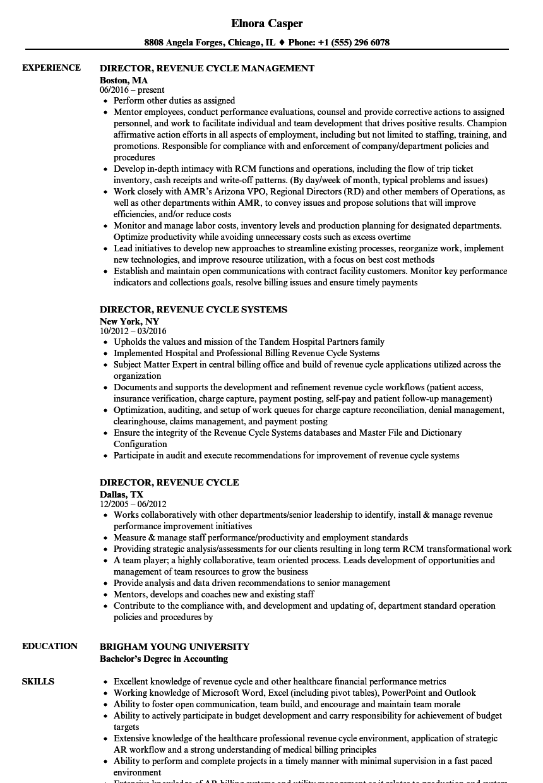 Director, Revenue Cycle Resume Samples | Velvet Jobs