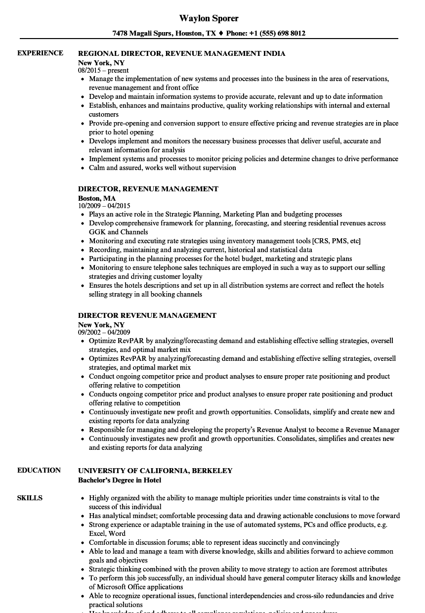 director  revenue management resume samples