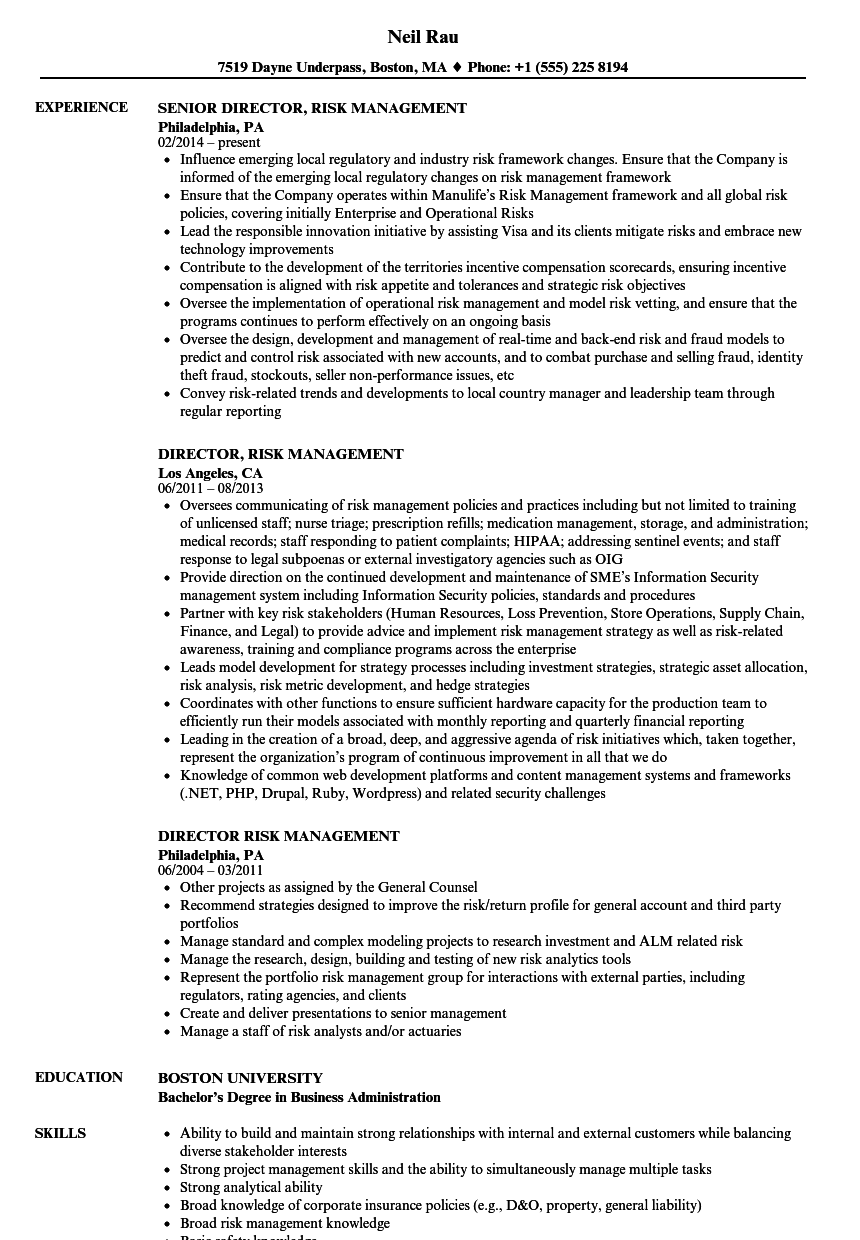 Director, Risk Management Resume Samples | Velvet Jobs