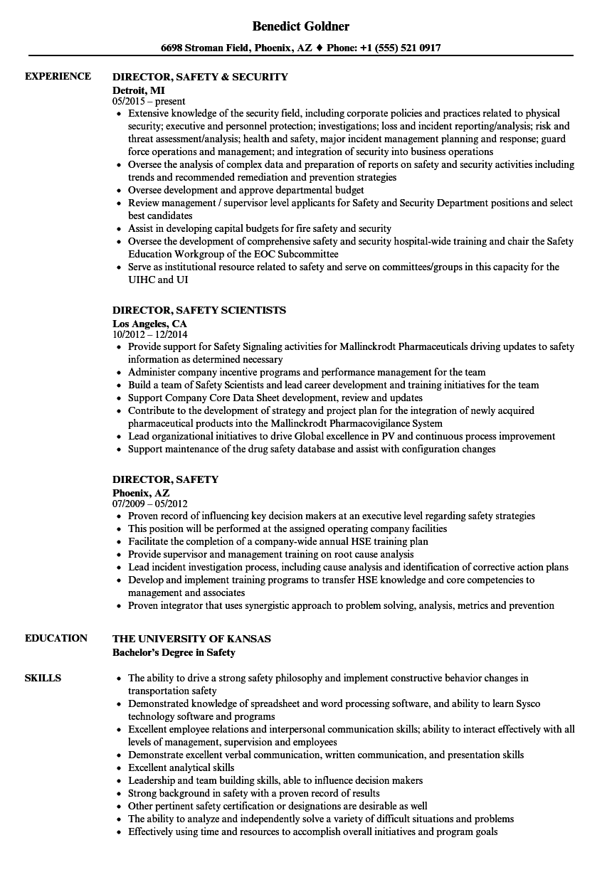 director  safety resume samples
