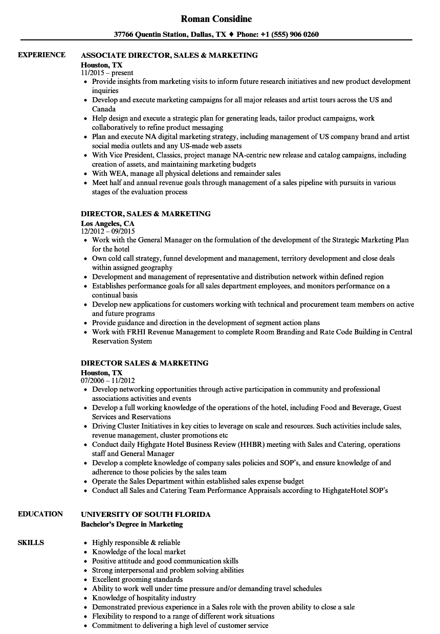 director  sales marketing resume samples