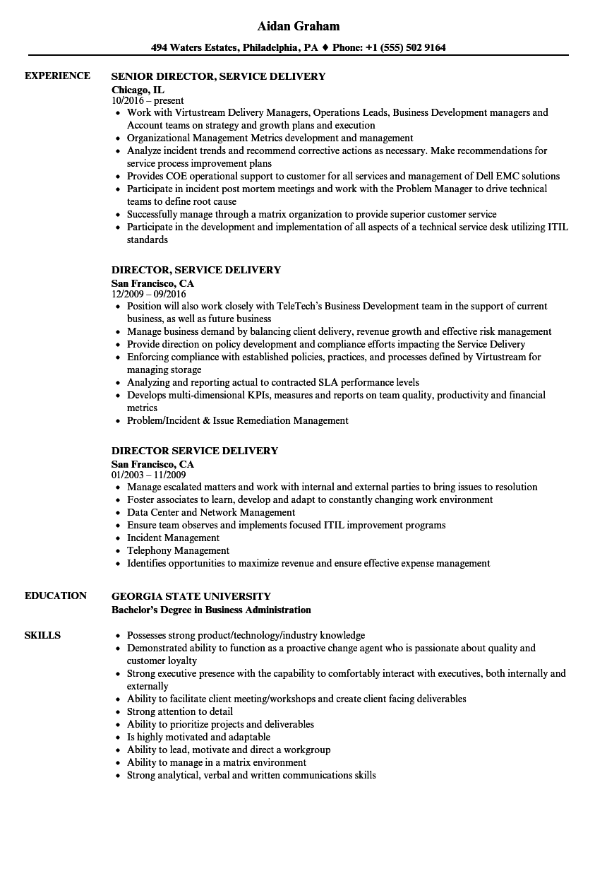 director  service delivery resume samples