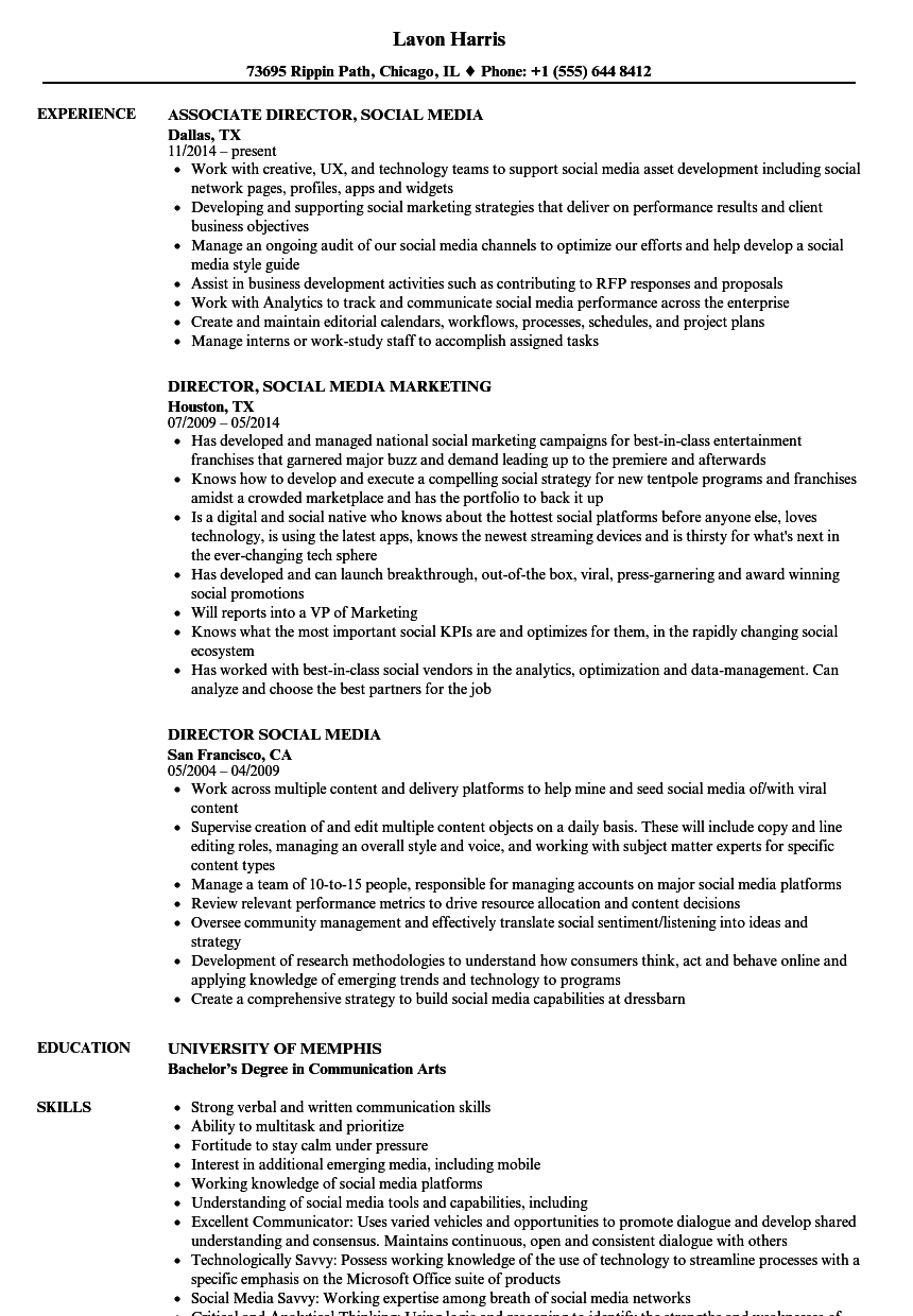 Director Social Media Resume Samples Velvet Jobs
