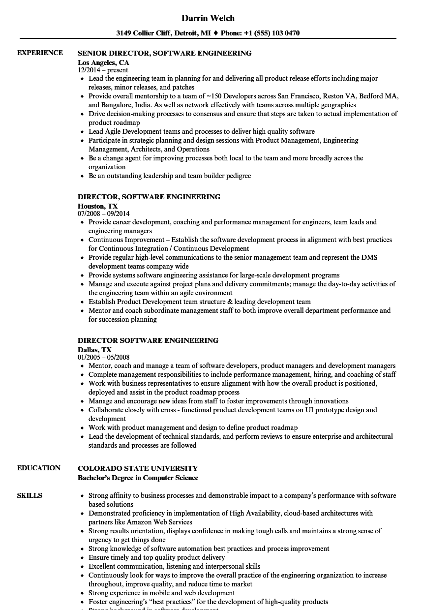 director  software engineering resume samples