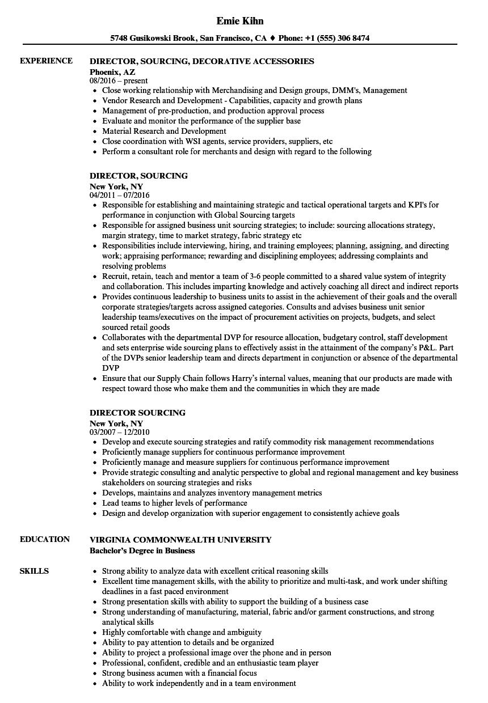 director  sourcing resume samples