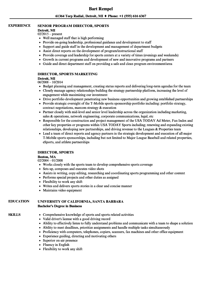 Download Director Sports Resume Sample As Image File