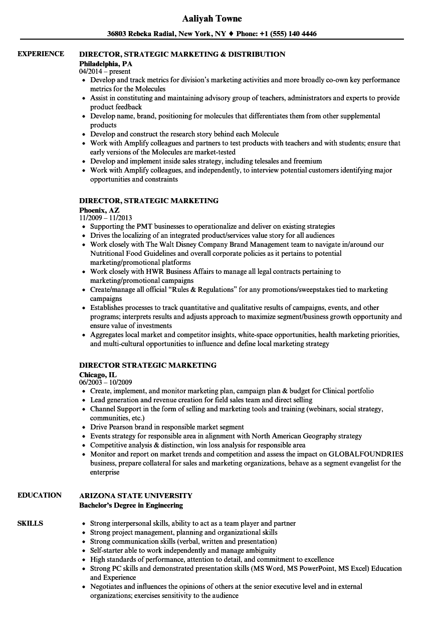 director  strategic marketing resume samples