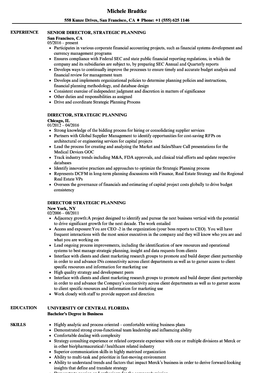 director  strategic planning resume samples