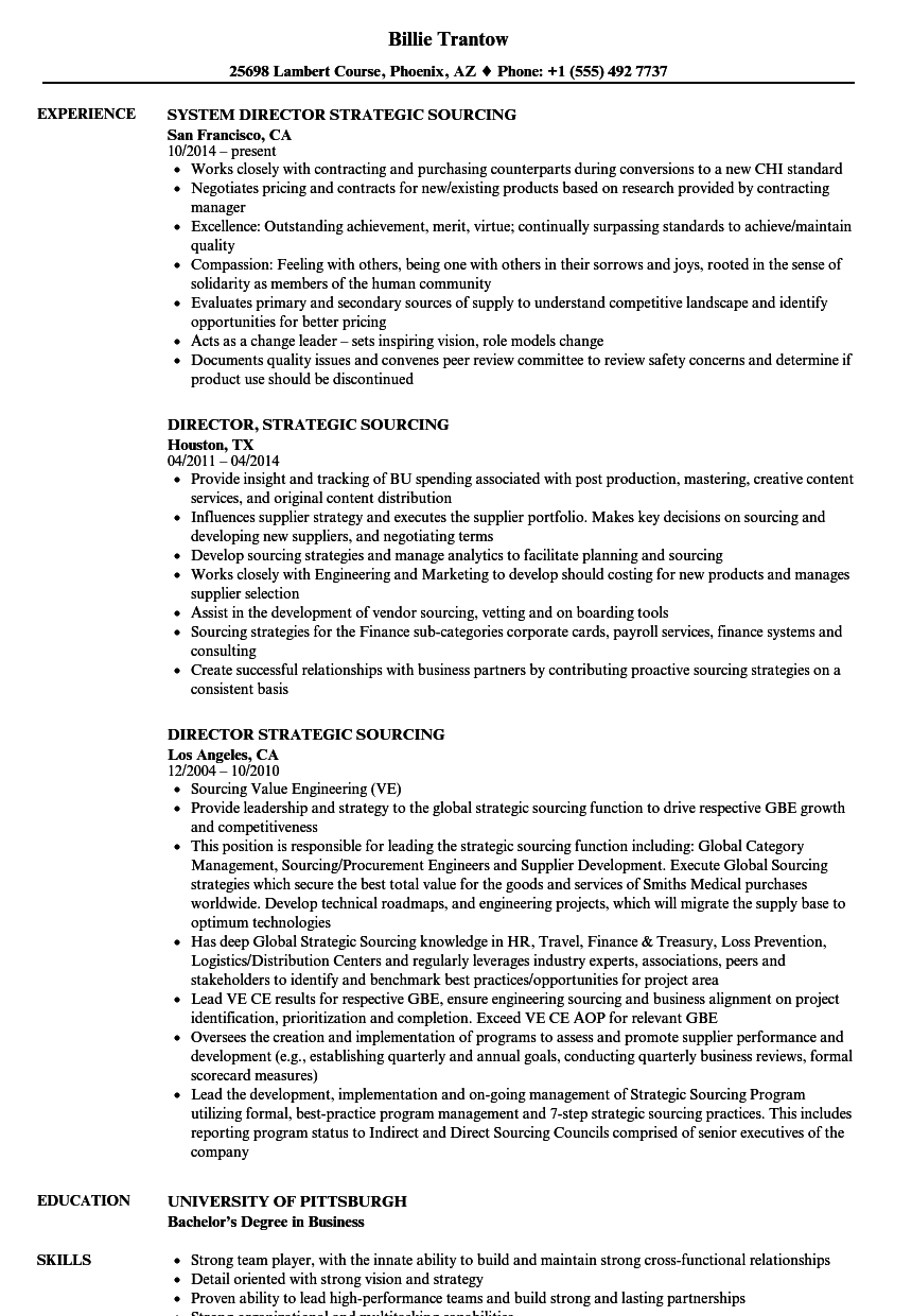 download director strategic sourcing resume sample as image file