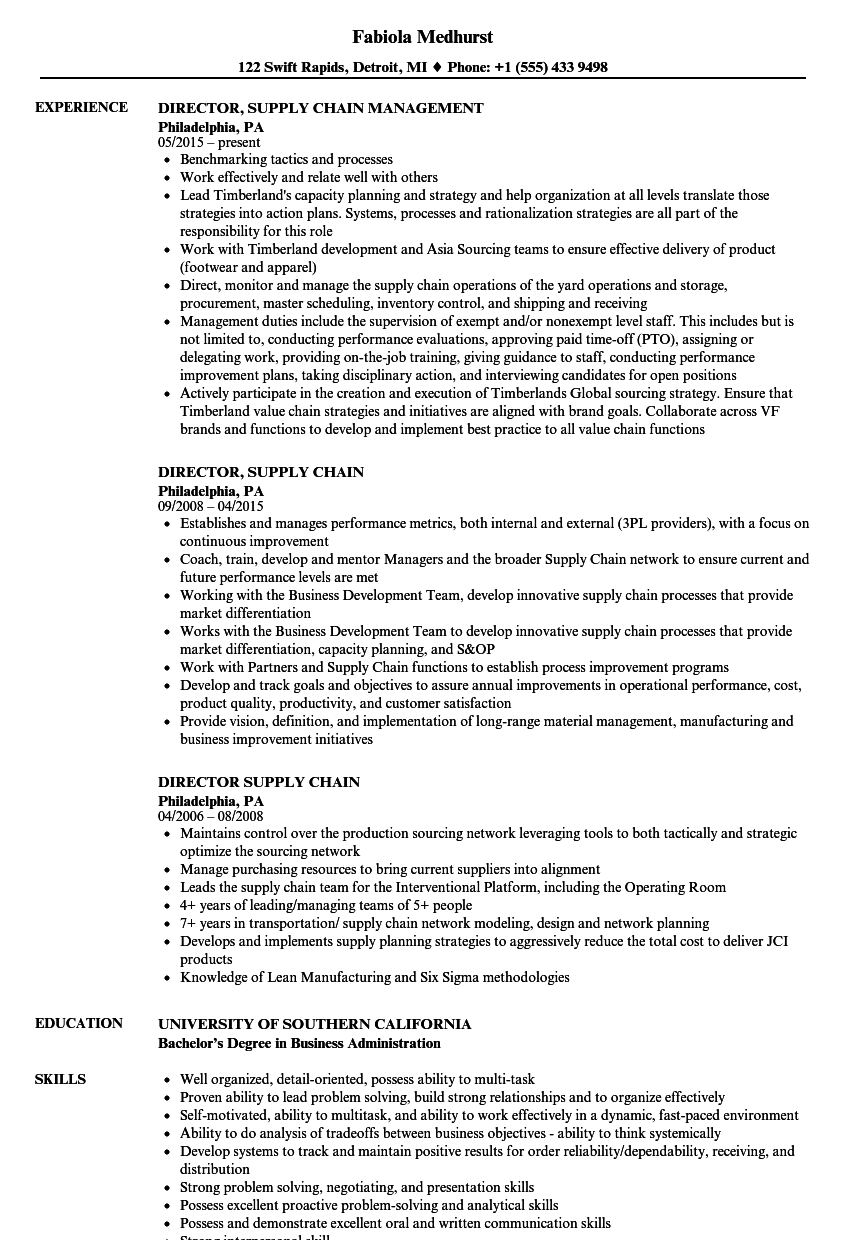 director  supply chain resume samples