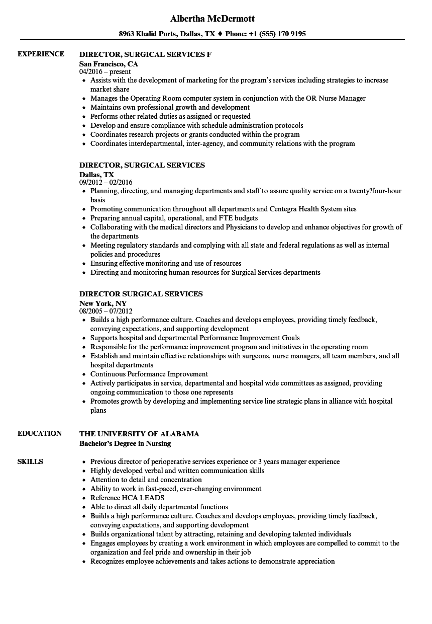 director surgical services resume samples