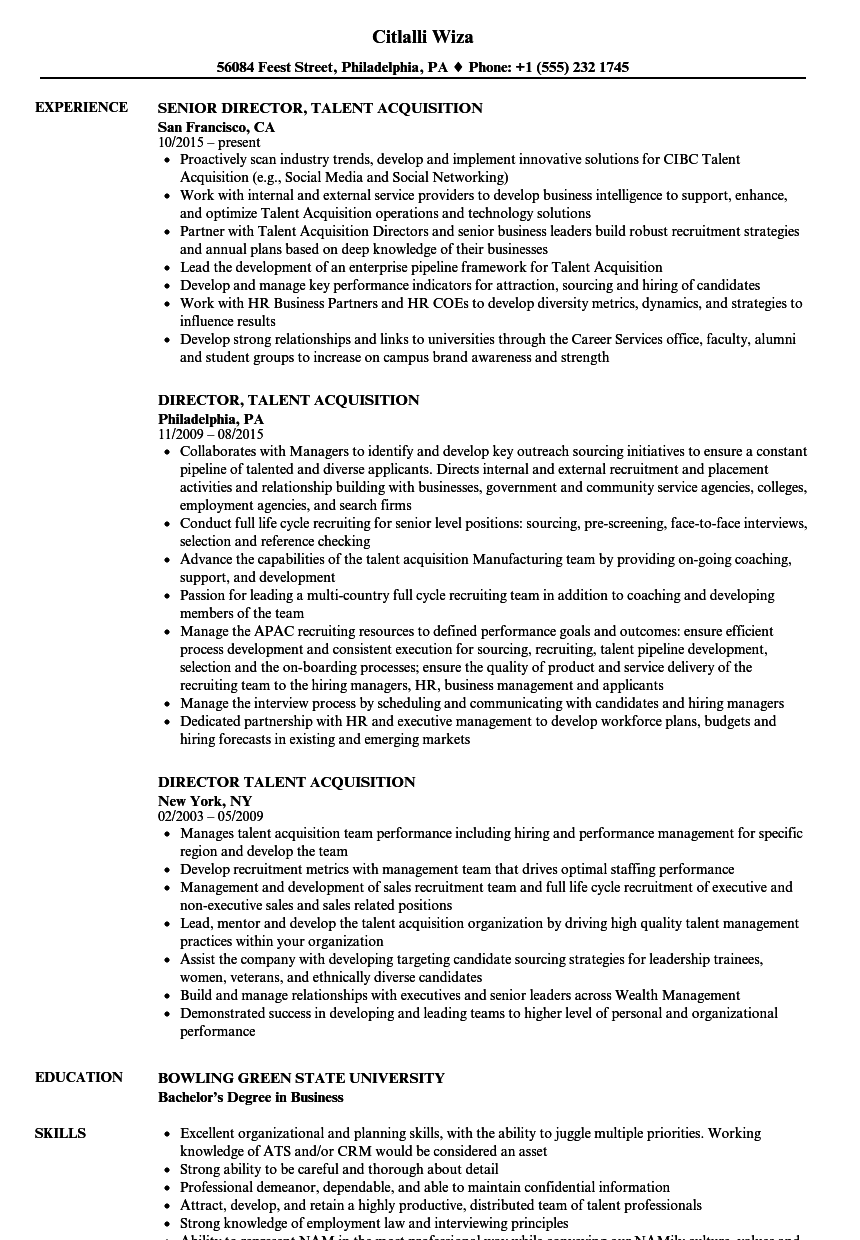 Director, Talent Acquisition Resume Samples | Velvet Jobs