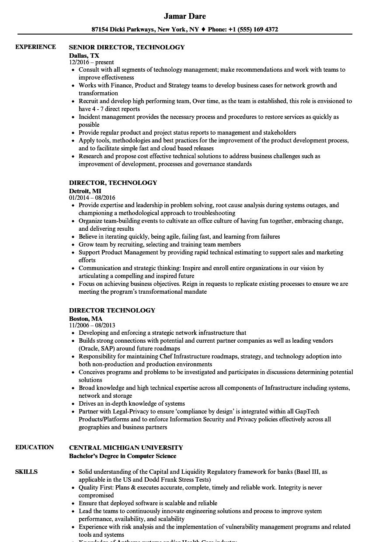 director  technology resume samples