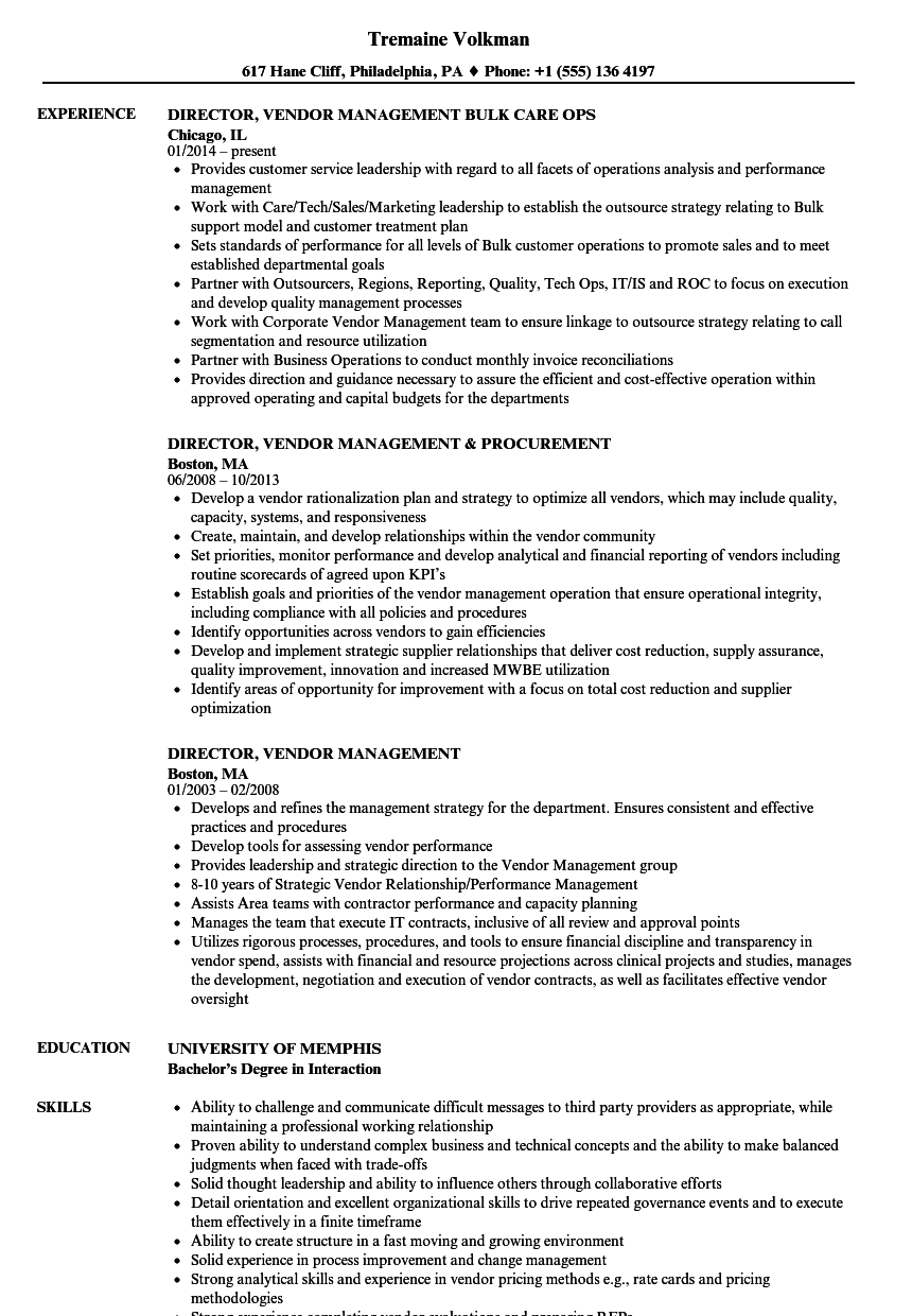 director  vendor management resume samples
