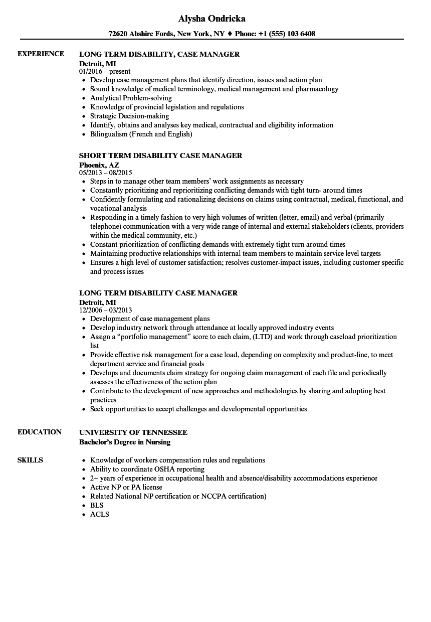 Disability Case Manager Resume Samples | Velvet Jobs