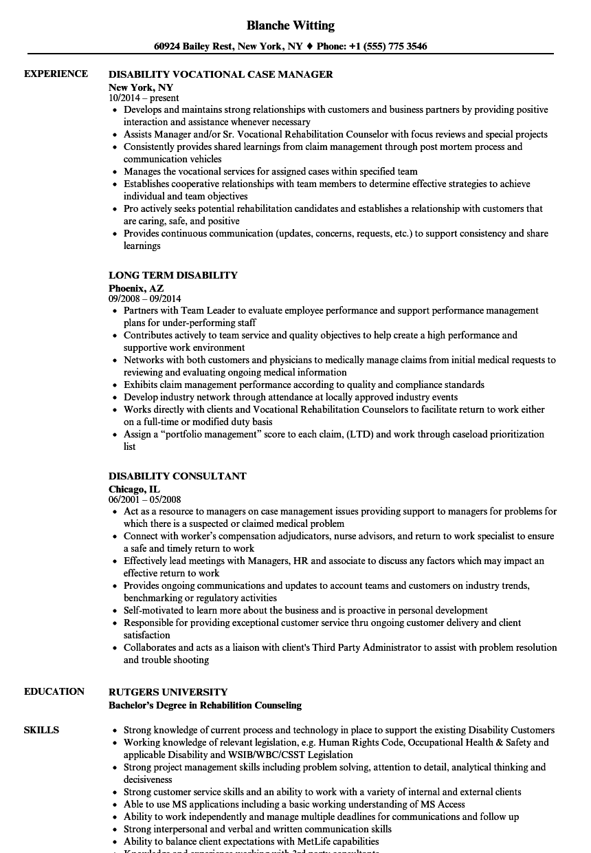 disability resume samples