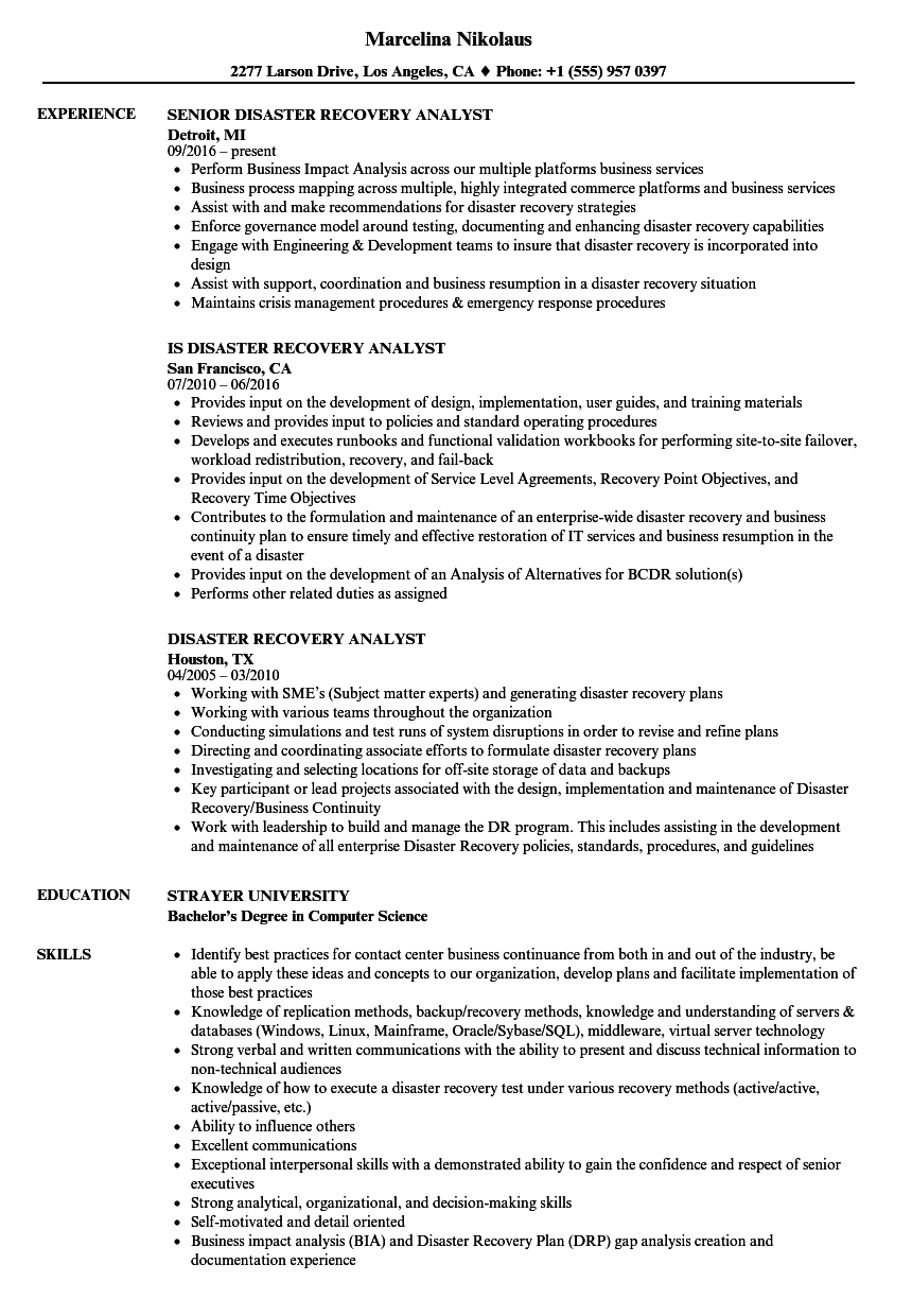 Disaster Recovery Analyst Resume Samples Velvet Jobs