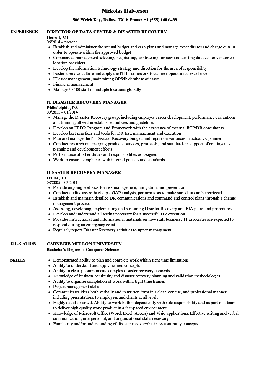 Disaster Recovery Resume Samples | Velvet Jobs