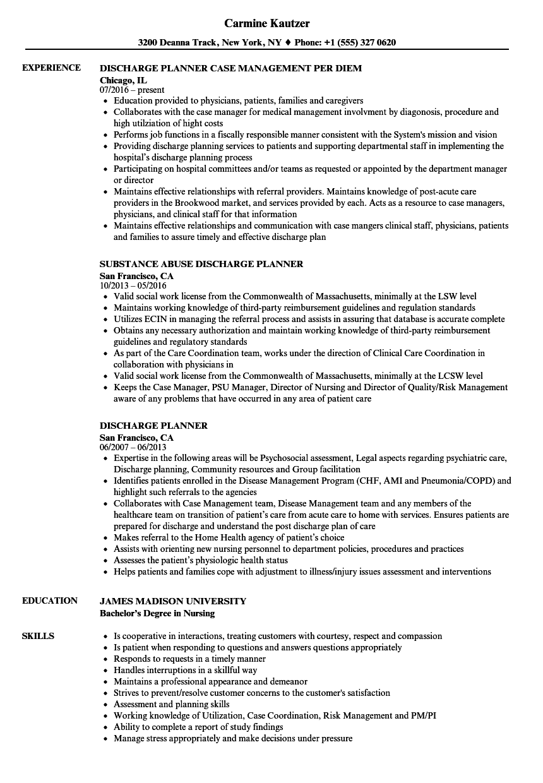 discharge planner resume samples