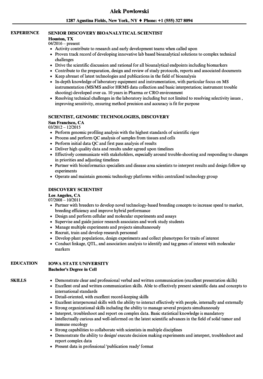 discovery scientist resume samples