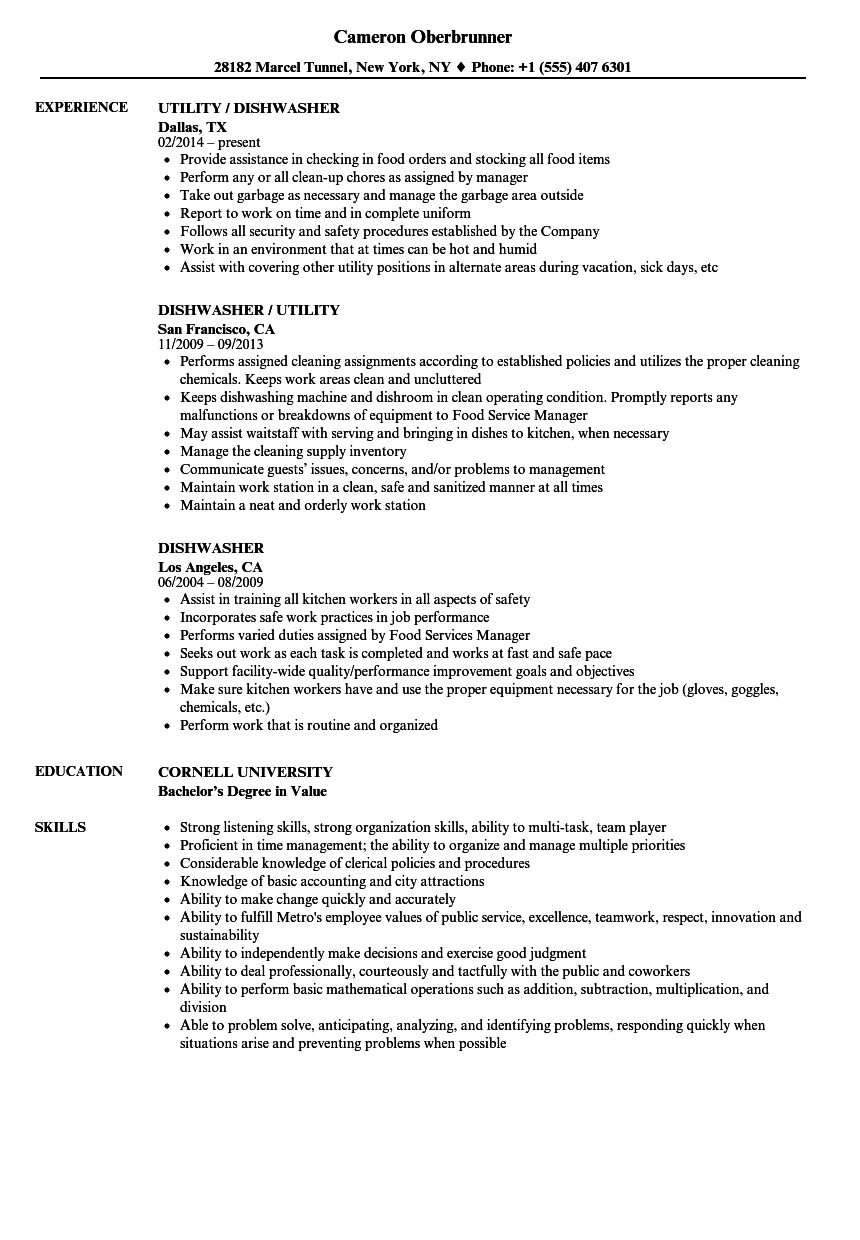Dishwasher Resume Samples Velvet Jobs - Dishwasher-resume