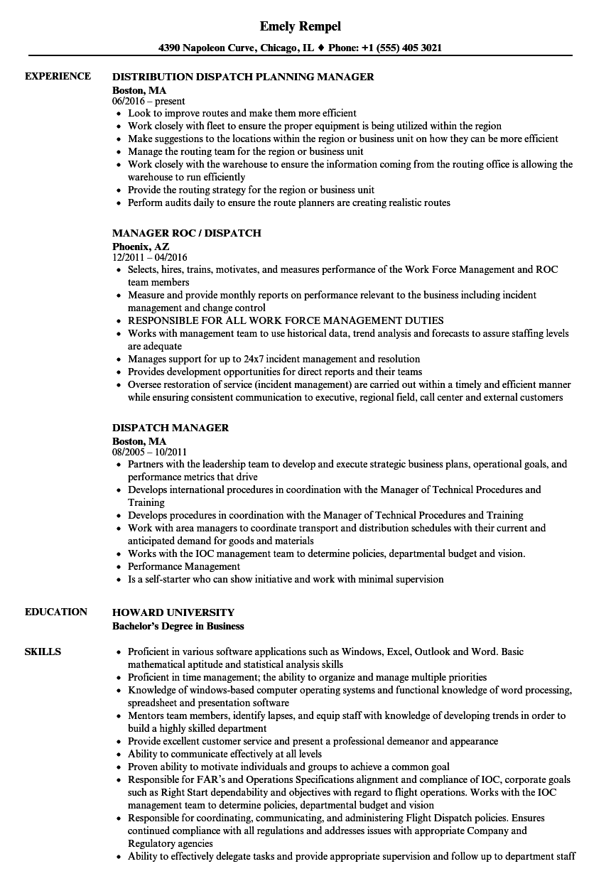 dispatch manager resume samples