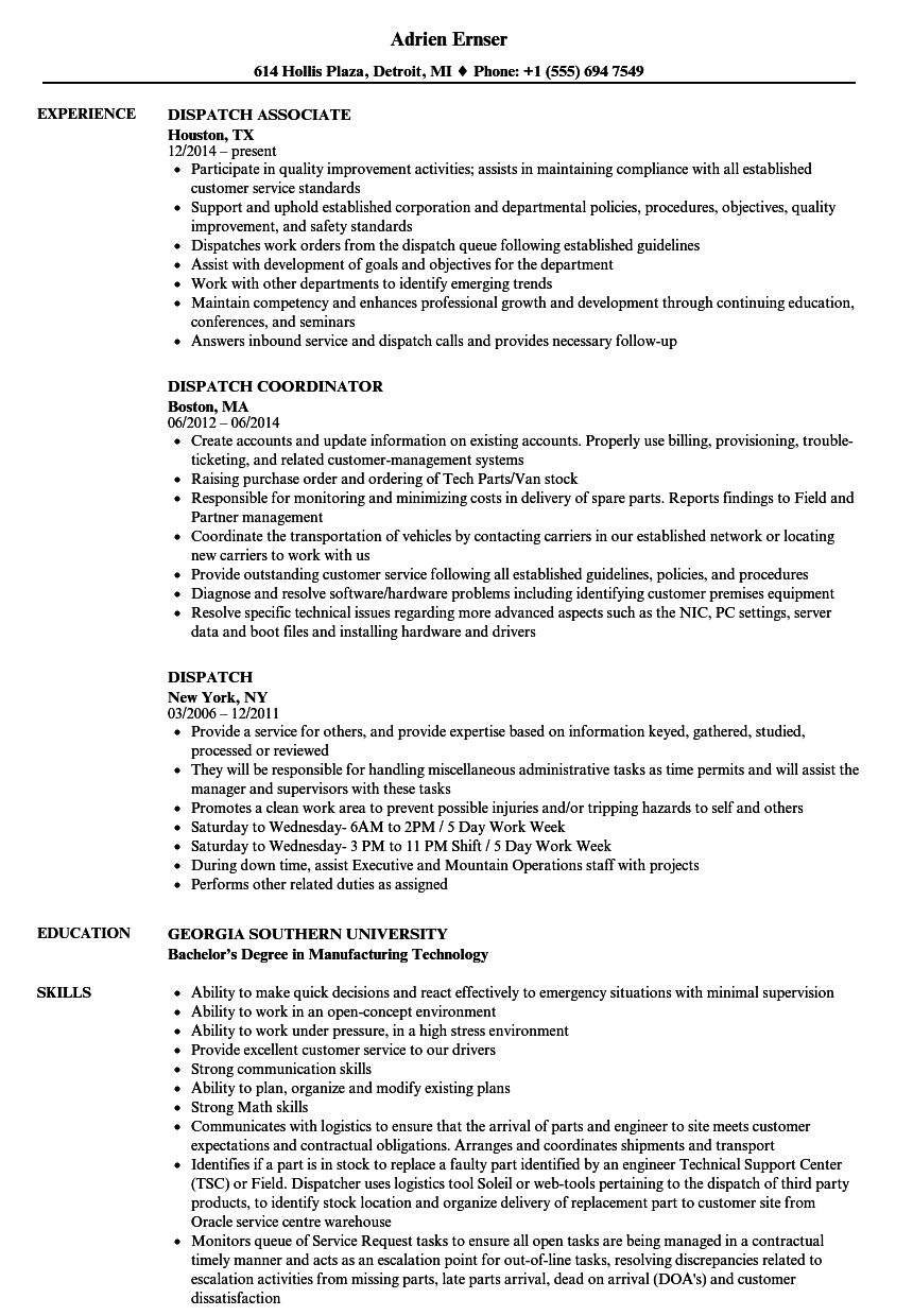 dispatch resume samples