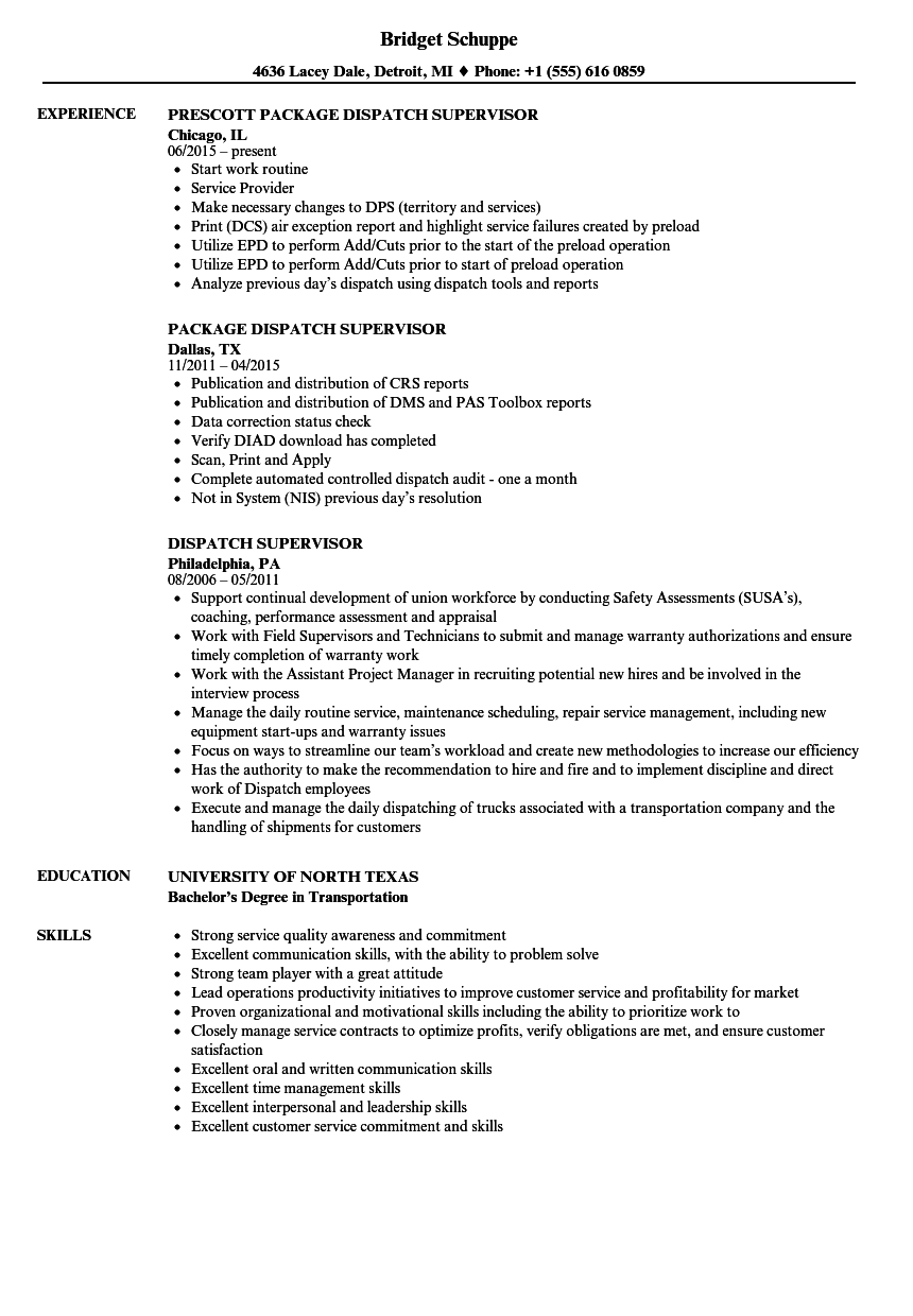Dispatch Supervisor Resume Samples | Velvet Jobs