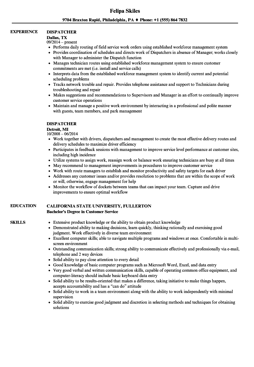 Dispatcher resume samples velvet jobs for Transportation dispatcher resume examples