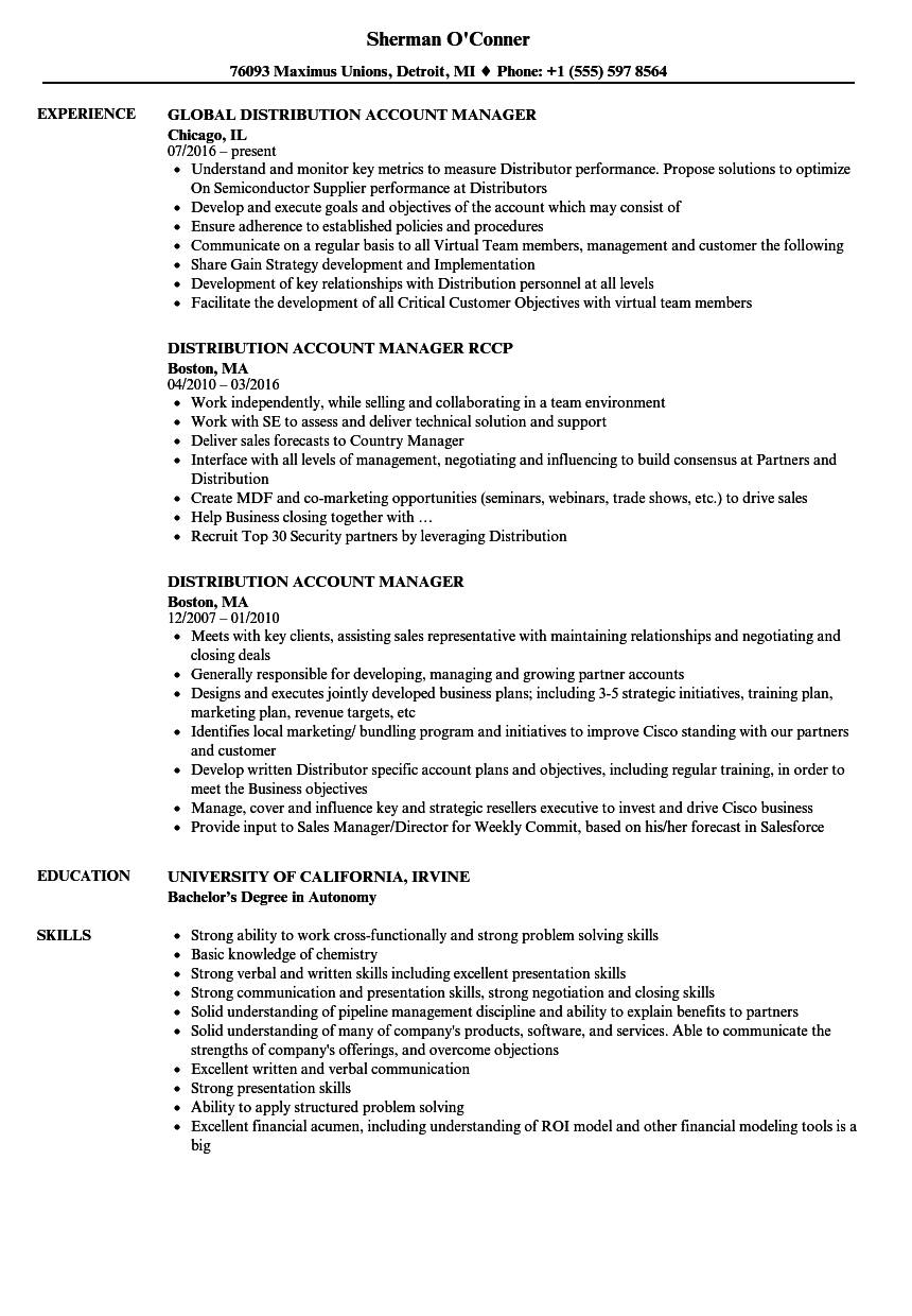 Distribution Account Manager Resume Samples Velvet Jobs