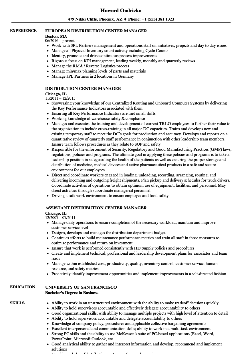 Distribution Center Manager Resume Samples | Velvet Jobs