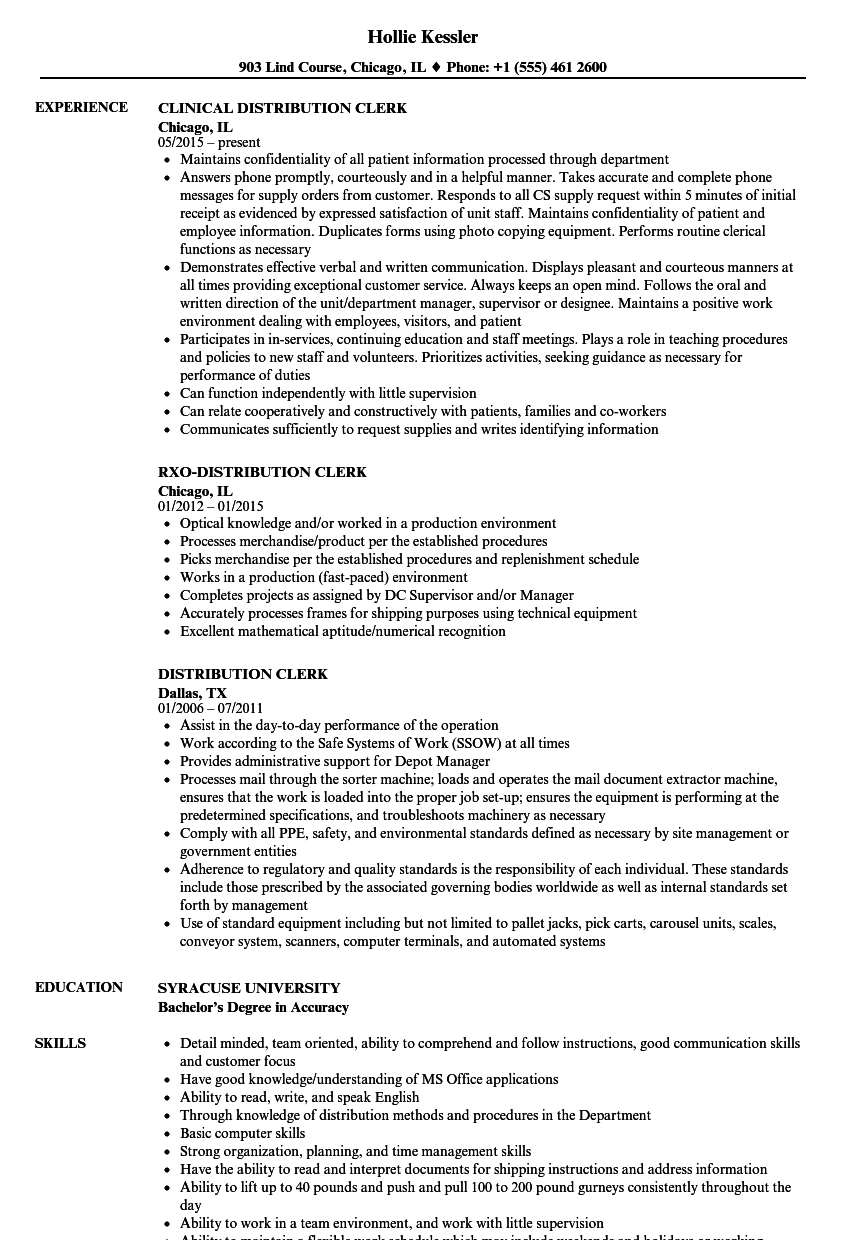 Distribution resume service
