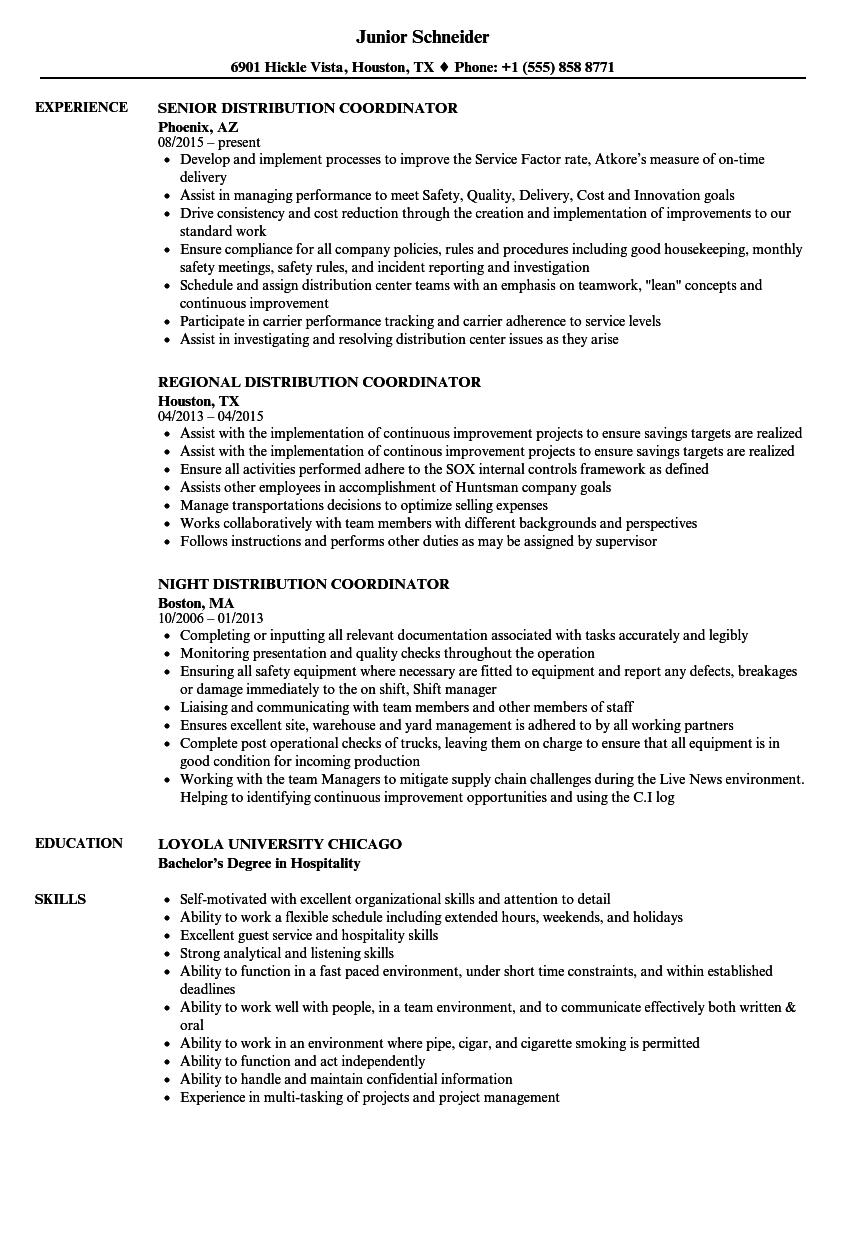 Distribution Coordinator Resume Samples Velvet Jobs