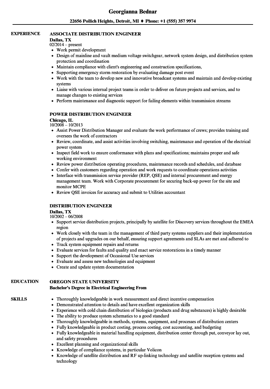 distribution engineer resume samples velvet jobs