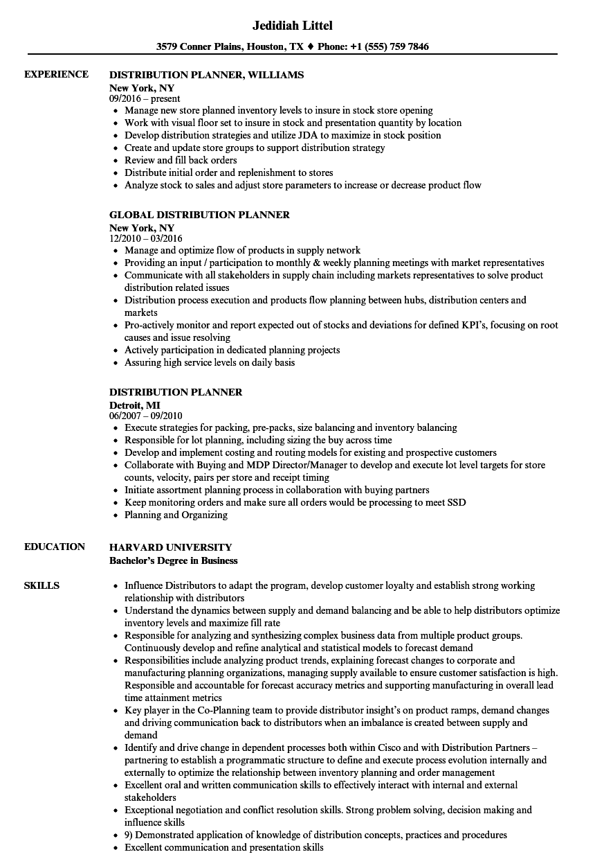 Distribution planner resume