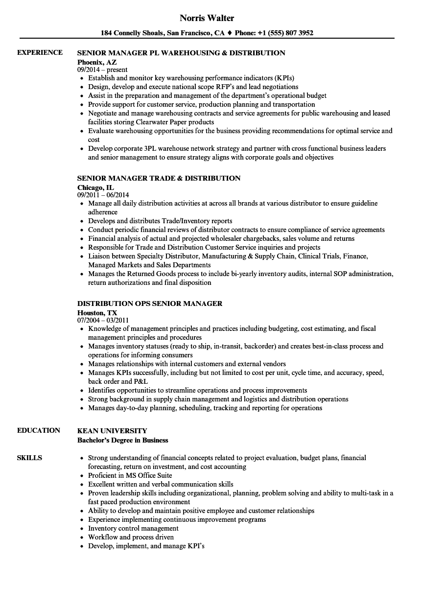 Distribution managers resume